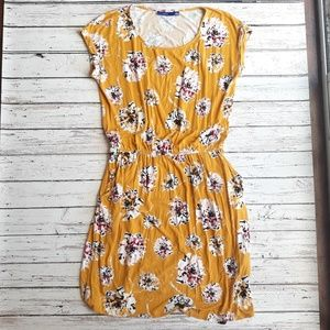 APT 9 Cinch Waist Yellow Flower Dress Size S (EUC)